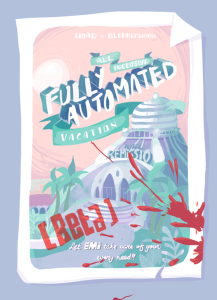 Cover for Fully Automated Vacation showing hotel brochure with blood splatters